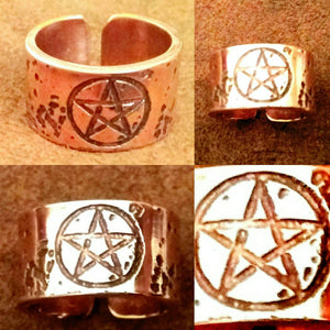 Pentagram open ring in bronze, copper or brass - pagan, wiccan, witch - wedding, Handfastings, engagement, friendship.
