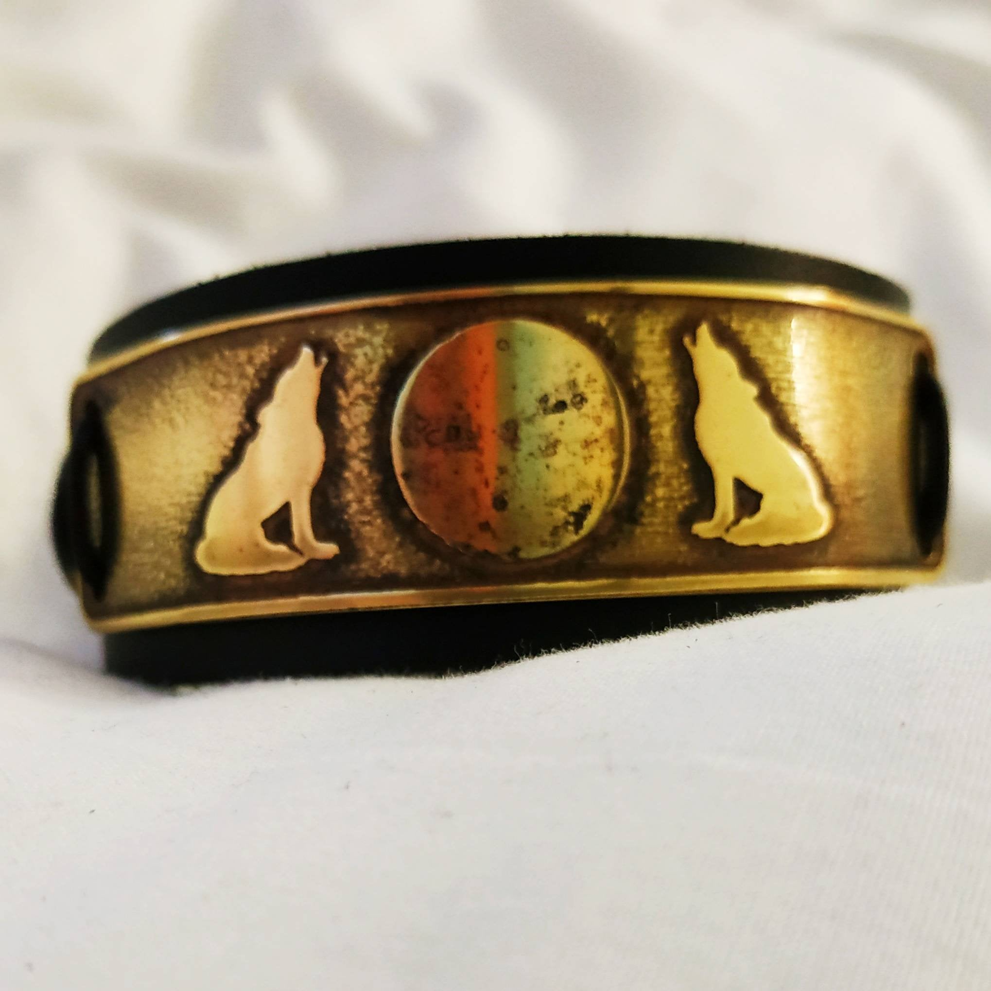 Wolves and Moon Brass and Leather Cuff Bracelet. Vikings, Norse, Pagan, biker.