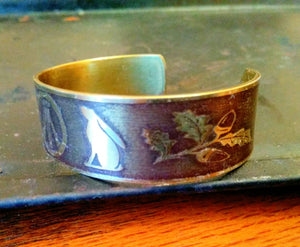 Druid Awen, Hares and Oak Leaf Garland Armband Cuff Bracelet