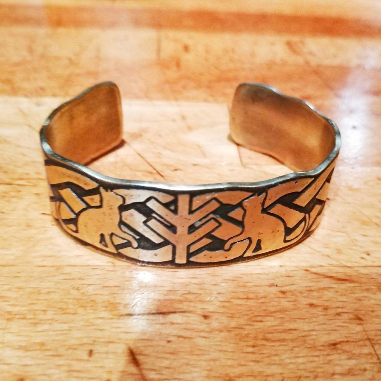 Freyja Fehu/Algiz Rune and Cats Cuff Bracelet in Copper or Brass Viking, Norse. Pagan Heathen Wedding Handfasting