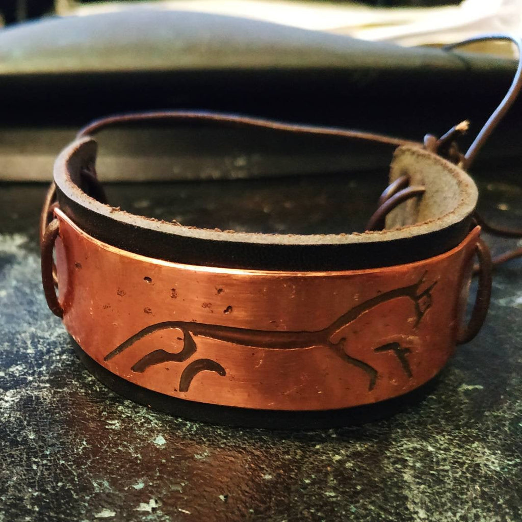 Uffington White Horse Copper or Brass and Leather Cuff Bracelet. Vikings, Norse, Pagan, biker.