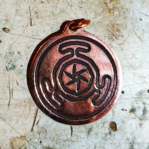 Wheel of Hecate/Strophalos of Hekate pendant in copper
