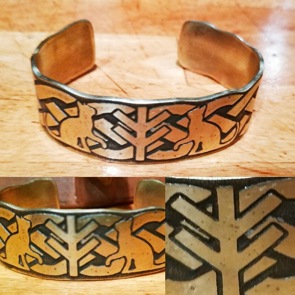Freyja Fehu/Algiz Rune and Cats Cuff Bracelet in Bronze, Copper or Brass Viking, Norse. Pagan Heathen Wedding Handfasting