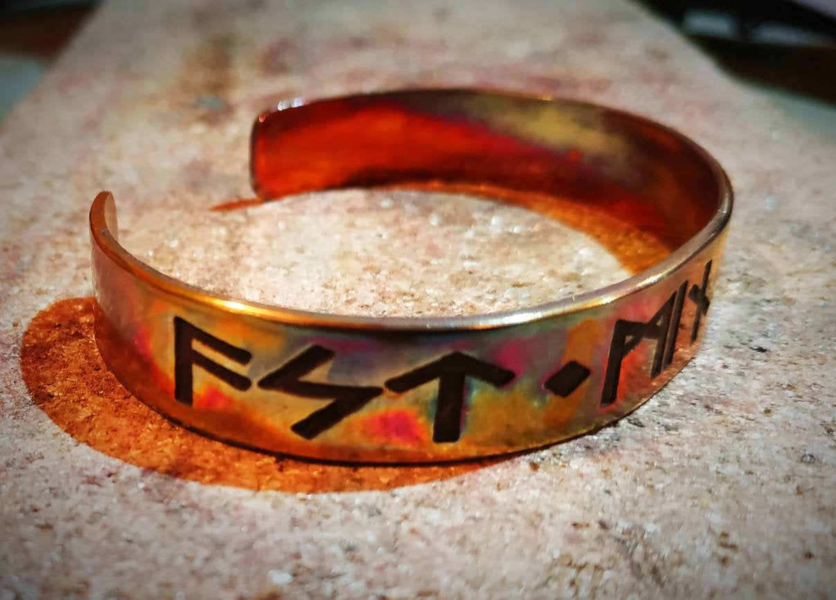 Kiss Me, My Love Cuff Bracelet - Viking, Norse, Elder Futhark Rune Inscription Love Poetry. Pagan Heathen Wedding Handfasting Copper Brass