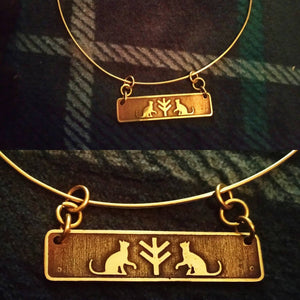 Freyja Fehu/Algiz Rune and Cats Pendant in Brass Viking, Norse. Pagan Heathen