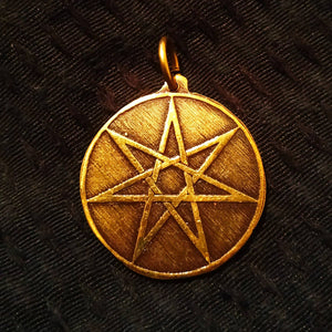 Seven Pointed Elven Star Pendant in antiqued golden brass (Fae, Fairy, Faerie)