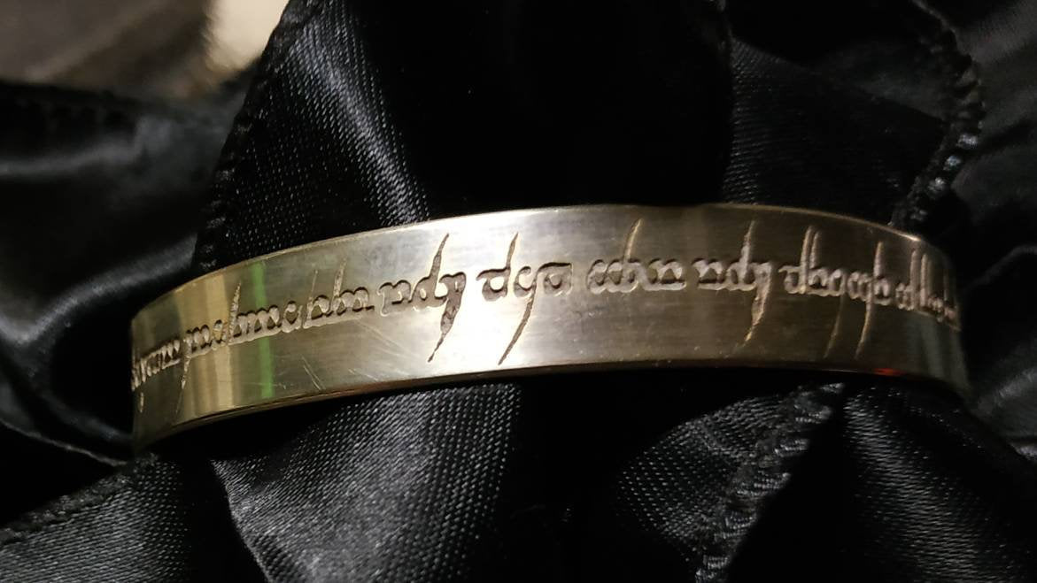 Elvish script silver plated brass cuff bracelet. Tengwar  script. Peter Pan quote.