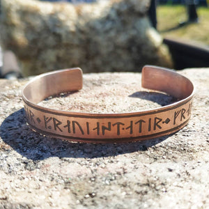 Daughter of Freyja Goddess Younger Futhark Runes Cuff Bracelet