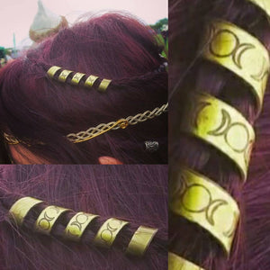 Wiccan Triple Moon Goddess Spiral Hair Bead pagan jewelry wiccan witchcraft