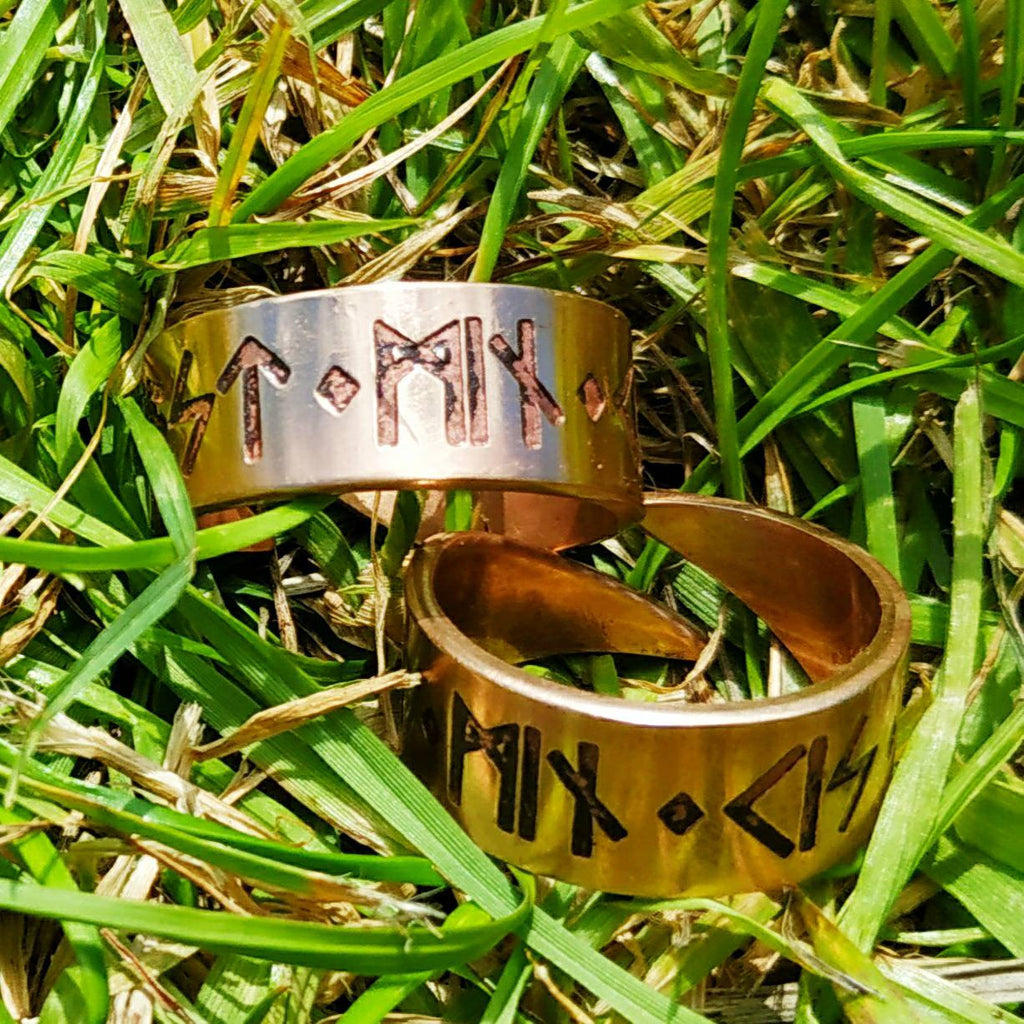 "Matched Pair of ""Kiss Me, My Love"" Rings - Viking, Norse, Elder Futhark Runes in Bronze"