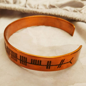 Irish Blessing Celtic Ogham Druid Cuff Bracelet in copper