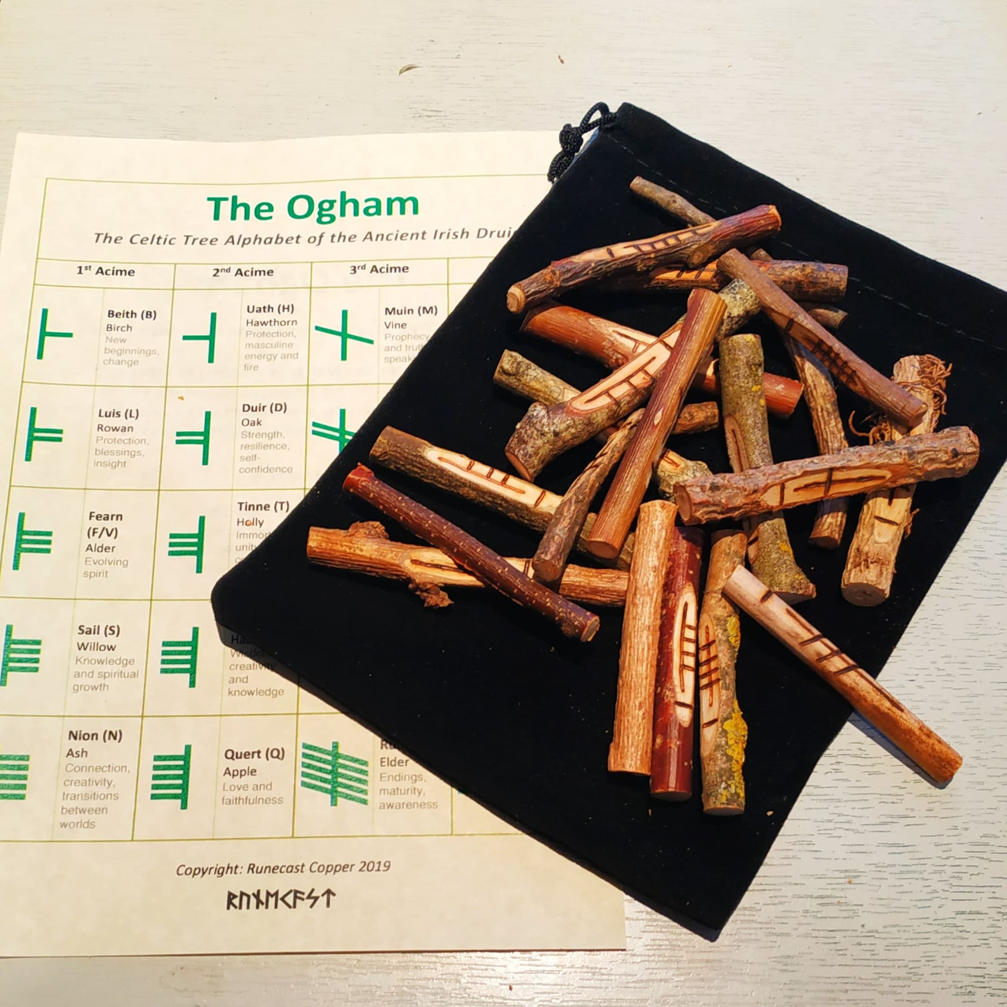 Irish Celtic Druid Ogham Rune Kit (wooden runes, bag, casting cloth, cord and info sheet)