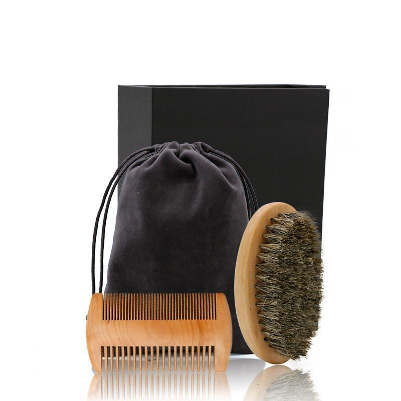 wooden boar bristle beard brush and comb set, mens special