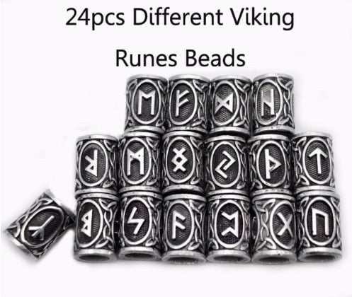 24 Viking Elder Futhark Rune Hair Beads