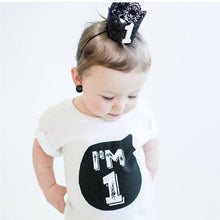 Load image into Gallery viewer, Birthday age t-shirt tee boys girls monochrome
