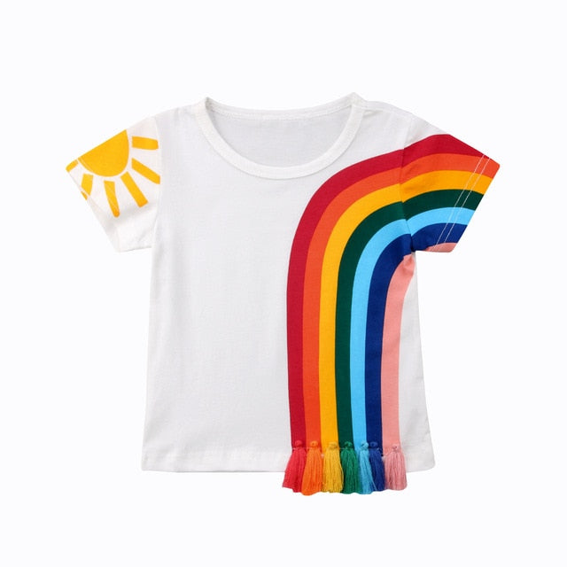 Rainbow tassel kids t-shirt tee boys girls age 2 3 4 5 6 years