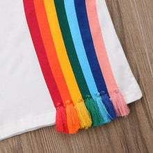 Load image into Gallery viewer, Rainbow tassel kids t-shirt tee boys girls age 2 3 4 5 6 years