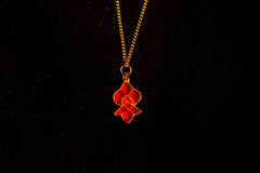 Red Enamel Pendant - Flower - S-08