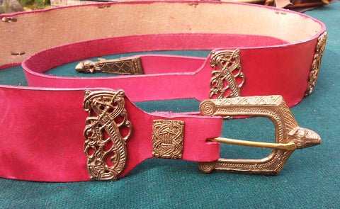 Viking Wolf & Dragon Belt, Red - FB142