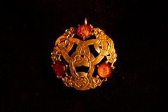 Viking Round brooch with amber - B08A