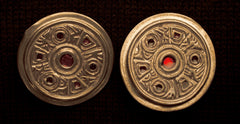 Saxon Brooch with Red Enamel (WHITE BRONZE) - SB3W