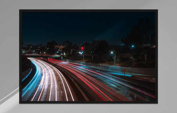 Poster - Freeway bei Nacht, Los Angeles