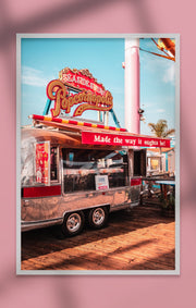 Poster - Santa Monica Beach Popcorn-Wagen, Los Angeles