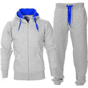 Casual Solid Tracksuit Zipper Hooded Sweatshirt Jacket +Sweatpants Mens Tracksuit - Eli-ellas