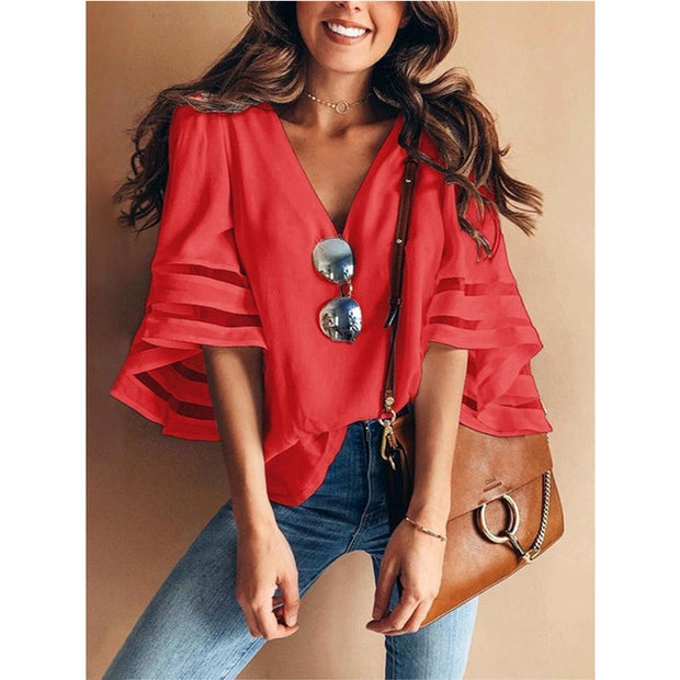 Women Casual Loose V Neck Kimono Chiffon Blouse Lady Summer Half Sleeve Solid Color Blouse Plus Size Tops - Eli-ellas