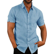 Short Sleeve Shirt Men Lapel Neck Button Pockets Solid Male Blouse Tops Men Brand Clothes - Eli-ellas