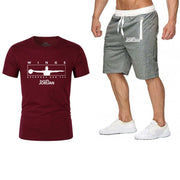 Men's Sets T Shirts+Shorts Two Pieces Sets Casual Tracksuit Tide brand Tshirt Gyms Fitness Sportswears set - Eli-ellas