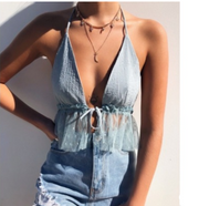 Top hanging neck front chest strap backless transparent gauze hem halter shirt women - Eli-ellas