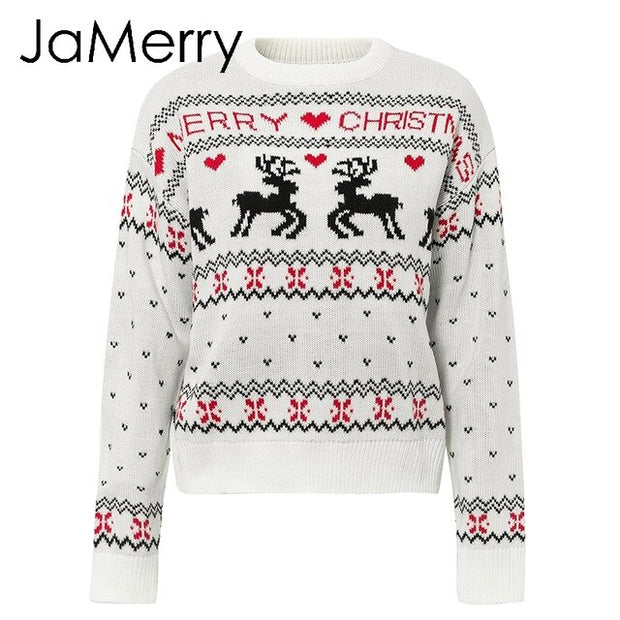 JaMerry Vintage merry christmas sweaters women long sleeve Autumn winter deer print knitted female pullover Chic top jumper - Eli-ellas