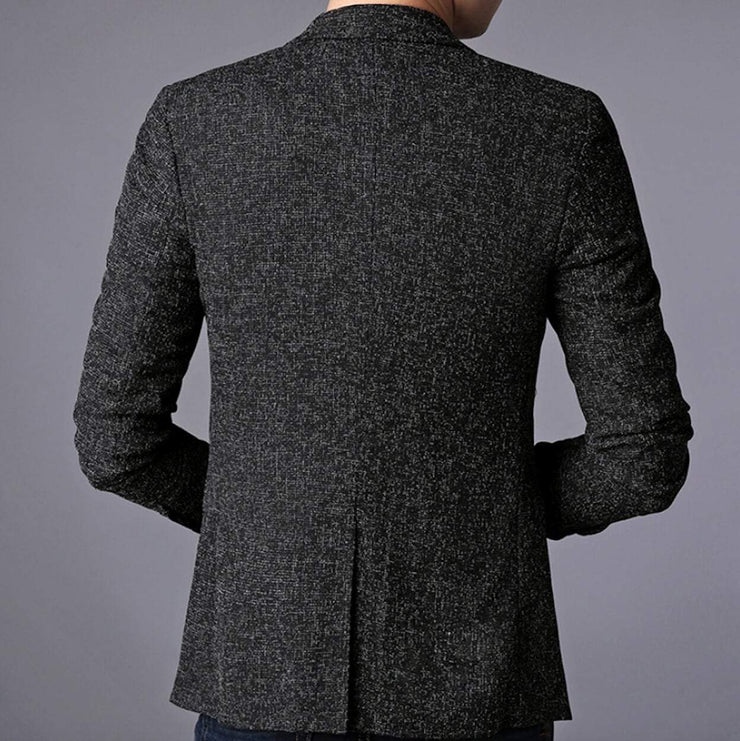 Mens Single Button Gray Blazer - Eli-ellas