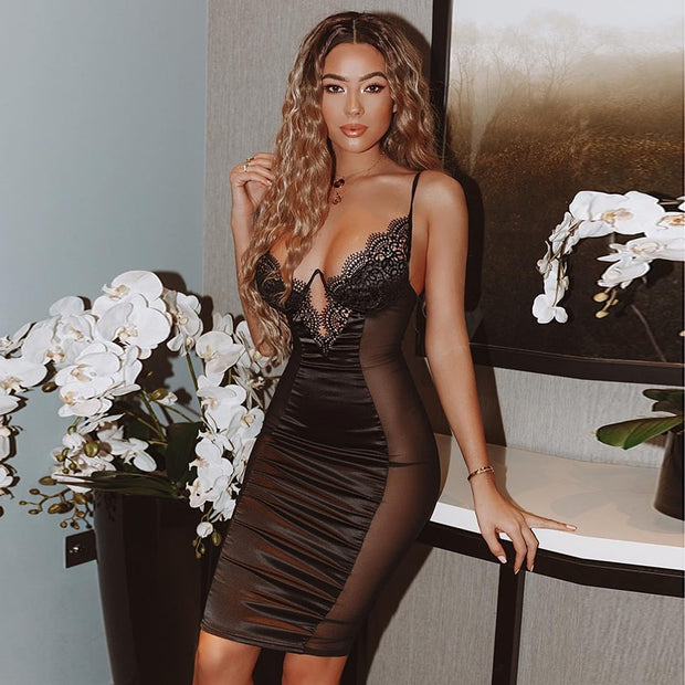 Dress Women Summer Bodycon Dresses Bustier Satin Lace Side Sheer Cups Party Dress See Through - Eli-ellas