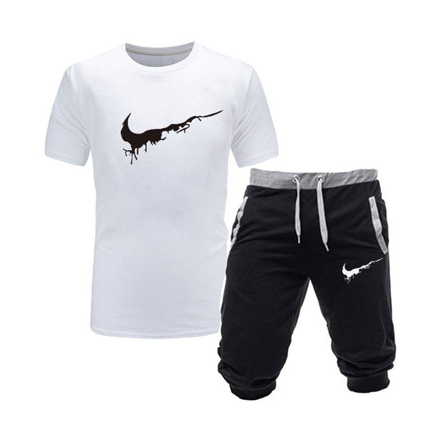Two Pieces Sets T Shirts+Shorts Suit Men Summer Tops Tees Fashion Tshirt High Quality Men Clothing - Eli-ellas