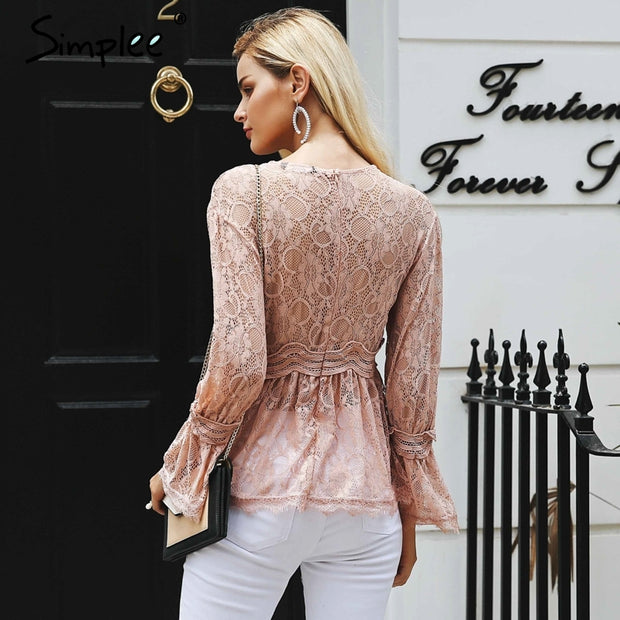 lace embroidery peplum blouse shirt women Elegant ruffles flare sleeve white blouse female Casual hollow out summer tops - Eli-ellas