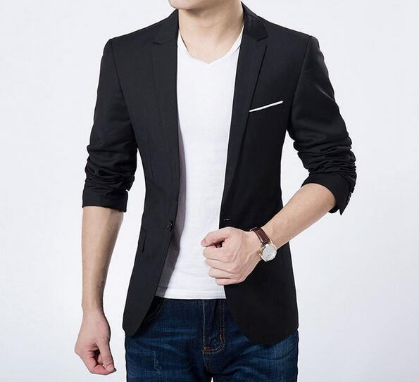 Mens Casual Slim Fit One Button Blazer - Eli-ellas