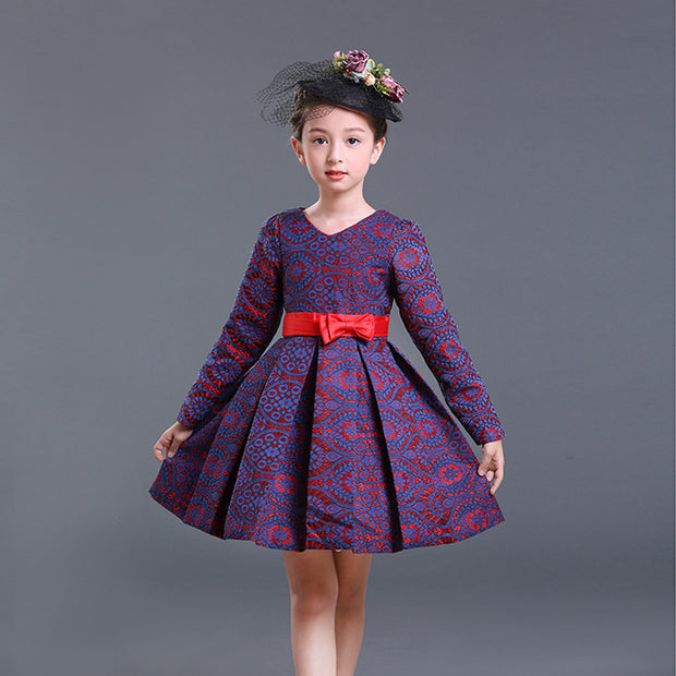 Girls long-sleeved dress children's clothing winter new children plus velvet thick princess dress dress skirt