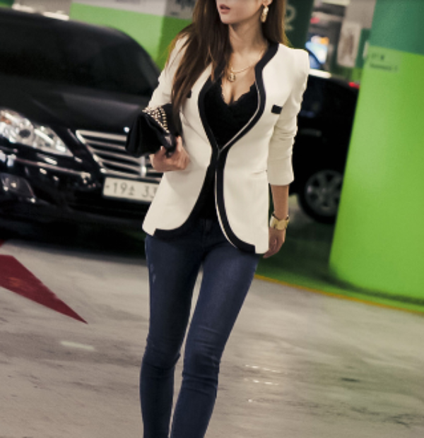 Womens Slim Fit Single Button Blazer in Black - Eli-ellas