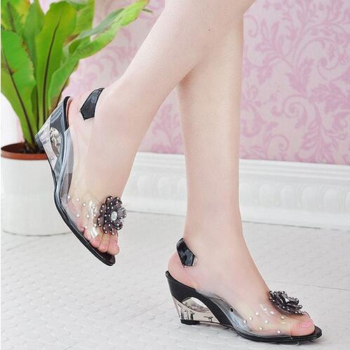 Crystal and fish mouth rhinestone sandals