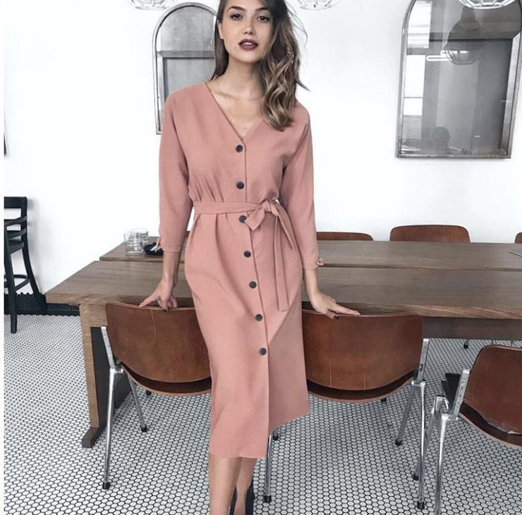 eliellas sexy dress High waist autumn office dresses - Eli-ellas