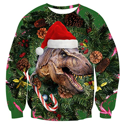 LISCN Unisex Women Christmas Sweater ugly Christmas Sweater Men Pullover Winter Plus Size Funny Autumn Tops Clothing Dinosaur - Eli-ellas