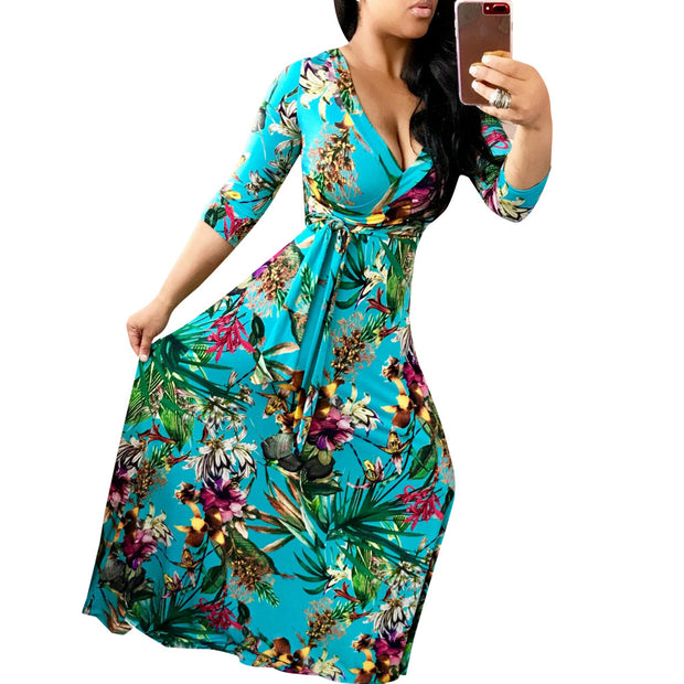 eliellas European and American women's sexy V-neck beautiful print large size and floor dress