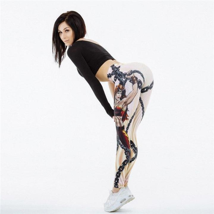 V-Taper Power She Warrior Print Push Up Fitness Leggings