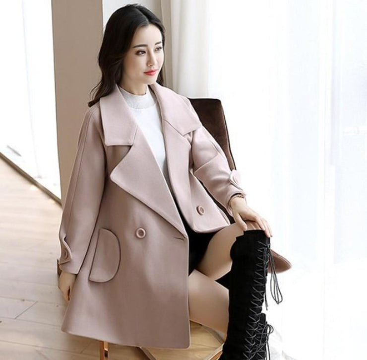 Womens Double Breasted Peacoat in Light Pink - Eli-ellas