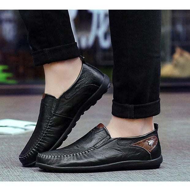 Mens Casual Leather Loafers with Rubber Anti Slippery Surface - Eli-ellas