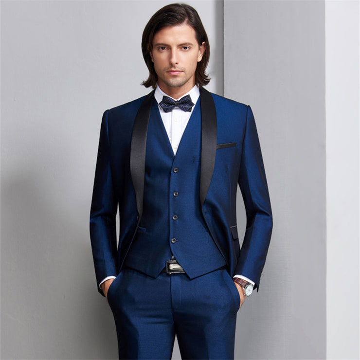 Wedding Suits For Men Shawl Collar 3 Pieces Slim Fit Burgundy Suit Mens Royal Blue Tuxedo Jacket - Eli-ellas