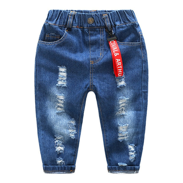 Baby Boys Casual Stone Washed Straight Fit Cartoon Jeans - Eli-ellas