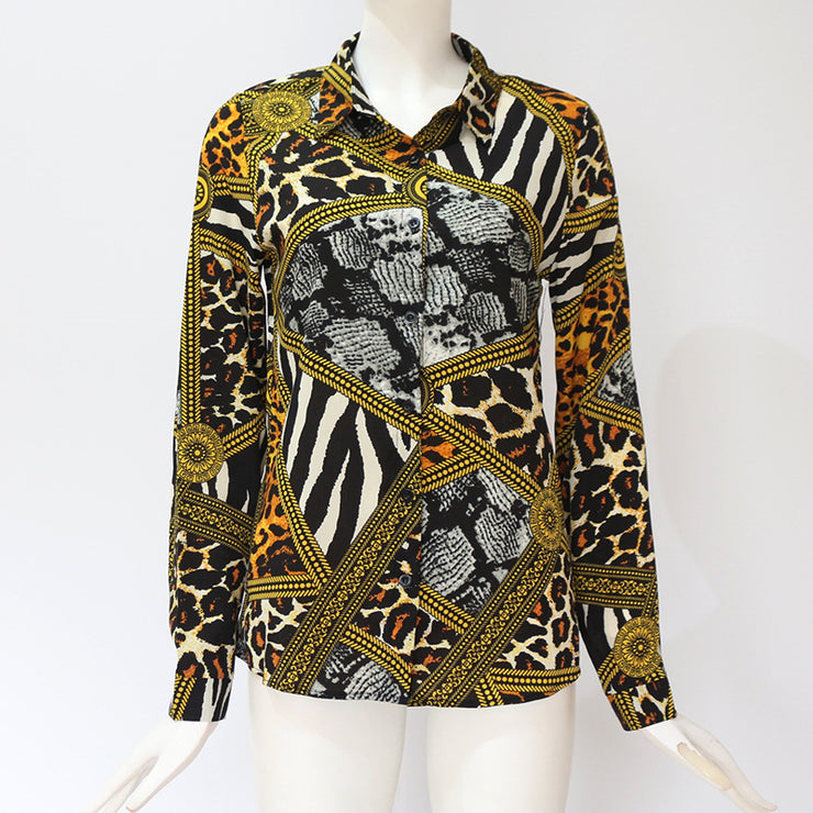 Going Out Multicolor Ornate Print Collar Long Sleeve Shirt Pullovers Top Autumn Modern Lady Women Tops - Eli-ellas